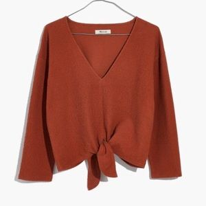 Madewell Tie Front 3/4 Sleeve Top